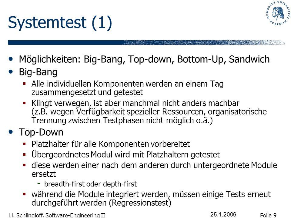 Folie 9 H. Schlingloff, Software-Engineering II 25.1.2006 Systemtest (1) Möglichkeiten: Big-Bang, Top-down, Bottom-Up, Sandwich Big-Bang Alle individu