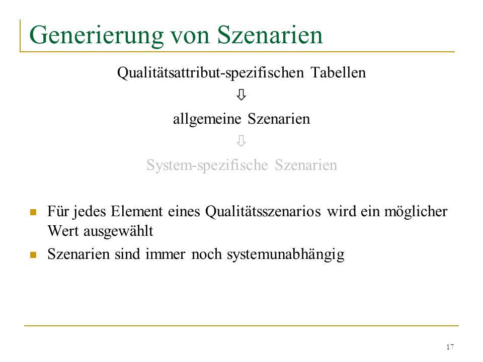 17 Generierung von Szenarien Qualitätsattribut-spezifischen Tabellen allgemeine Szenarien System-spezifische Szenarien Für jedes Element eines Qualitä