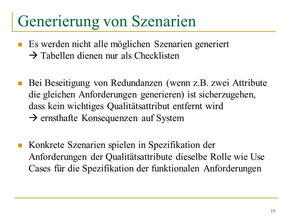 19 Generierung von Szenarien Es werden nicht alle möglichen Szenarien generiert Tabellen dienen nur als Checklisten Bei Beseitigung von Redundanzen (w