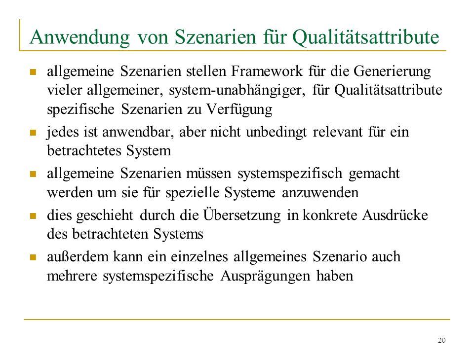 20 Anwendung von Szenarien für Qualitätsattribute allgemeine Szenarien stellen Framework für die Generierung vieler allgemeiner, system-unabhängiger,