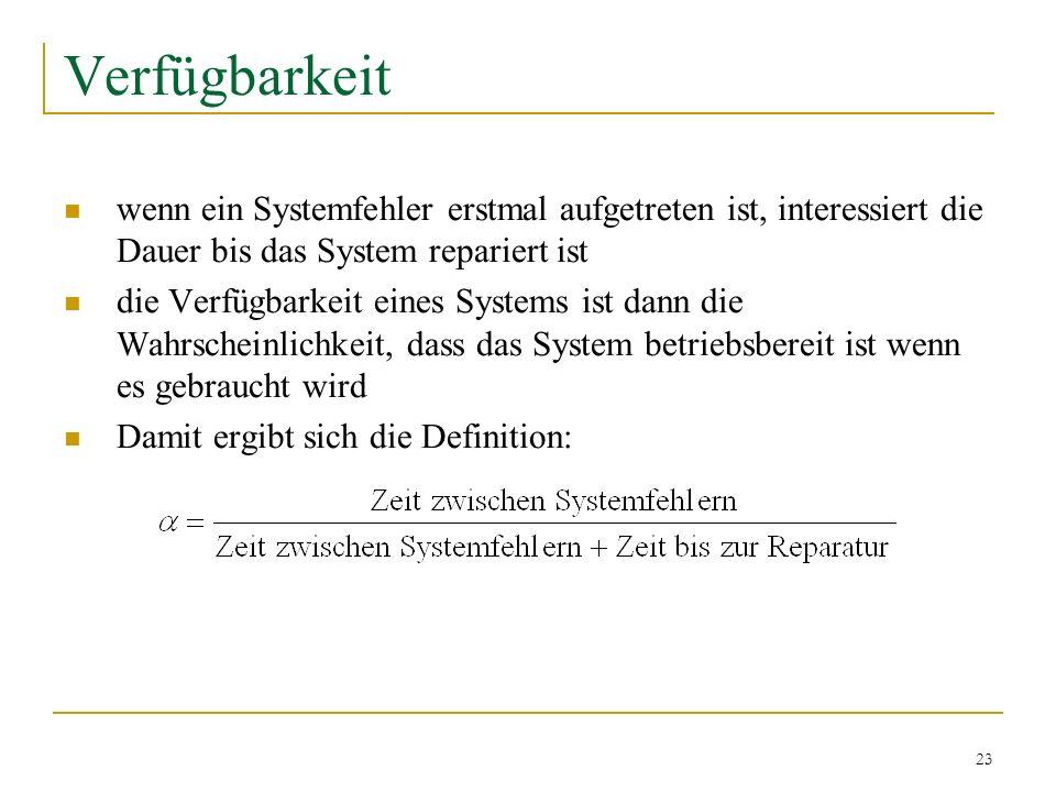 23 Verfügbarkeit wenn ein Systemfehler erstmal aufgetreten ist, interessiert die Dauer bis das System repariert ist die Verfügbarkeit eines Systems is