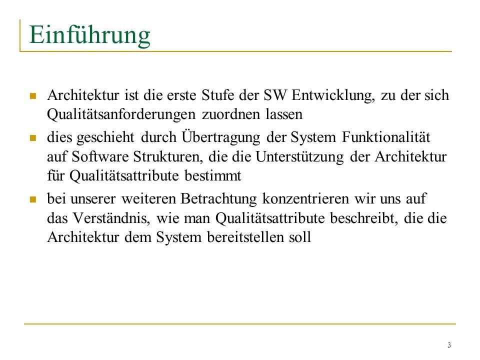 3 Einführung Architektur ist die erste Stufe der SW Entwicklung, zu der sich Qualitätsanforderungen zuordnen lassen dies geschieht durch Übertragung d