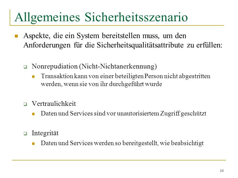 36 Allgemeines Sicherheitsszenario Aspekte, die ein System bereitstellen muss, um den Anforderungen für die Sicherheitsqualitätsattribute zu erfüllen: