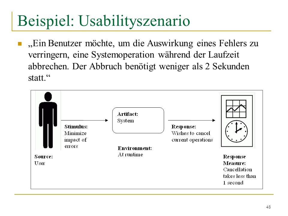 48 Beispiel: Usabilityszenario Ein Benutzer möchte, um die Auswirkung eines Fehlers zu verringern, eine Systemoperation während der Laufzeit abbrechen
