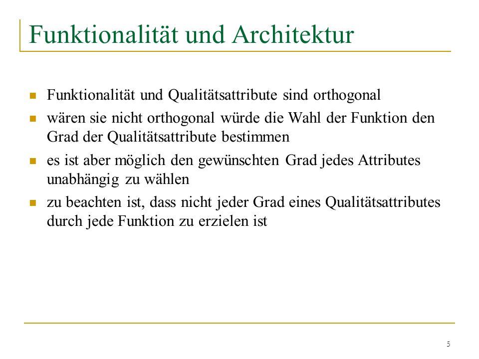 5 Funktionalität und Architektur Funktionalität und Qualitätsattribute sind orthogonal wären sie nicht orthogonal würde die Wahl der Funktion den Grad