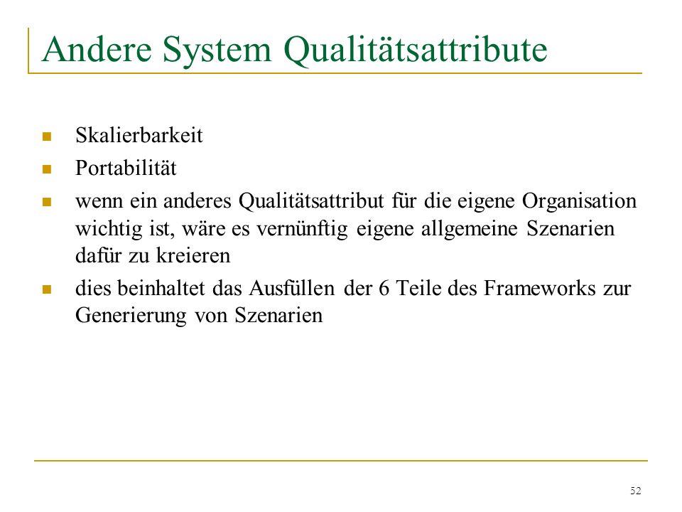 52 Andere System Qualitätsattribute Skalierbarkeit Portabilität wenn ein anderes Qualitätsattribut für die eigene Organisation wichtig ist, wäre es ve