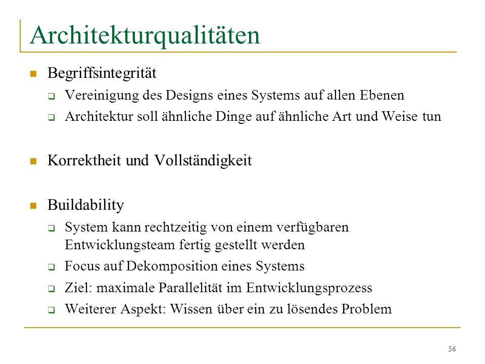 56 Architekturqualitäten Begriffsintegrität Vereinigung des Designs eines Systems auf allen Ebenen Architektur soll ähnliche Dinge auf ähnliche Art un