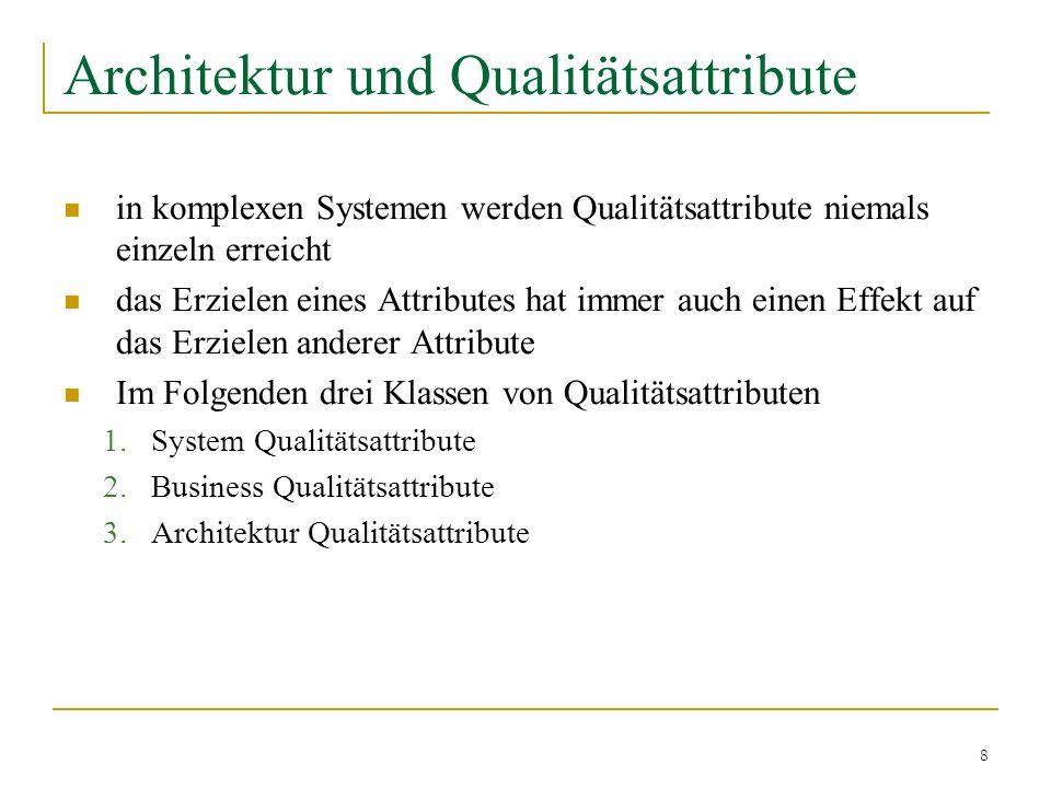 8 Architektur und Qualitätsattribute in komplexen Systemen werden Qualitätsattribute niemals einzeln erreicht das Erzielen eines Attributes hat immer