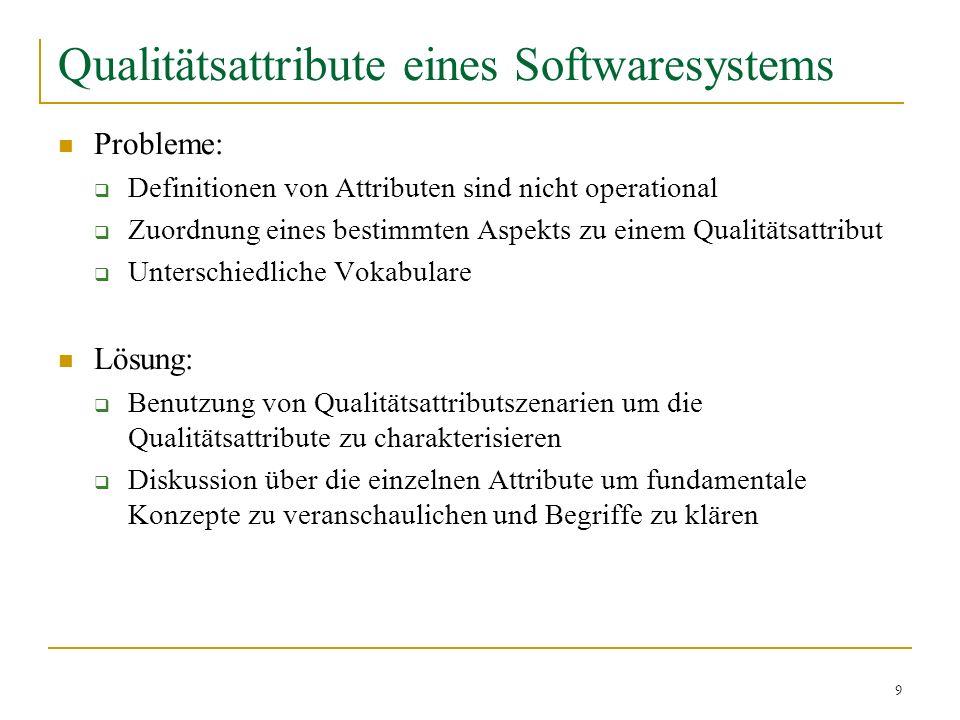 9 Qualitätsattribute eines Softwaresystems Probleme: Definitionen von Attributen sind nicht operational Zuordnung eines bestimmten Aspekts zu einem Qu