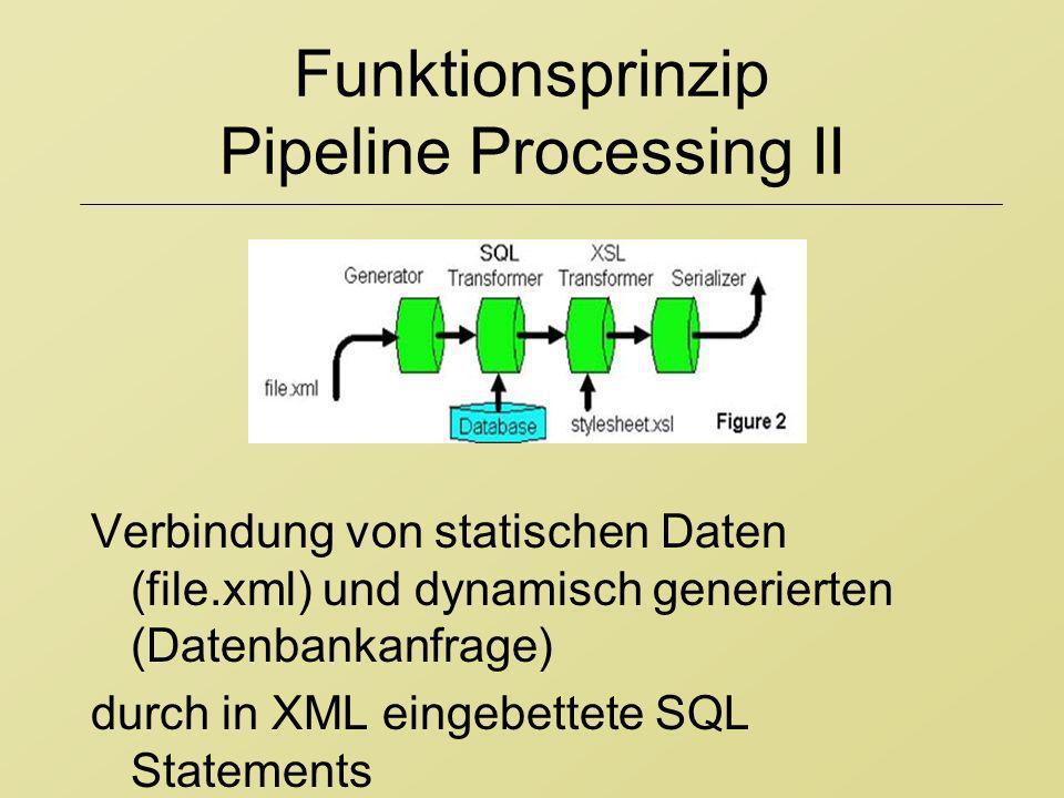 Funktionsprinzip Pipeline Processing II Verbindung von statischen Daten (file.xml) und dynamisch generierten (Datenbankanfrage) durch in XML eingebett