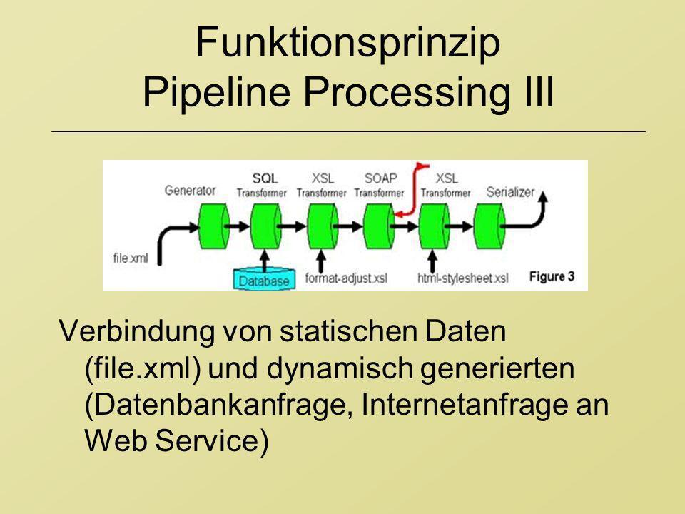 Funktionsprinzip Pipeline Processing III Verbindung von statischen Daten (file.xml) und dynamisch generierten (Datenbankanfrage, Internetanfrage an We