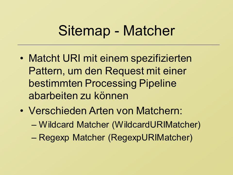 Sitemap - Matcher Matcht URI mit einem spezifizierten Pattern, um den Request mit einer bestimmten Processing Pipeline abarbeiten zu können Verschiede