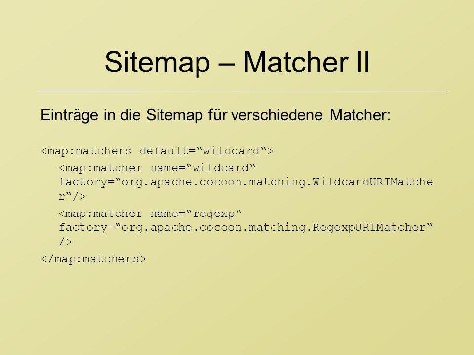 Sitemap – Matcher II Einträge in die Sitemap für verschiedene Matcher:
