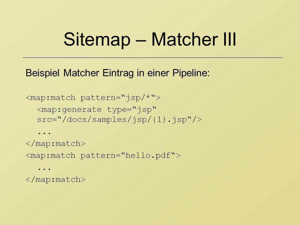 Sitemap – Matcher III Beispiel Matcher Eintrag in einer Pipeline:......