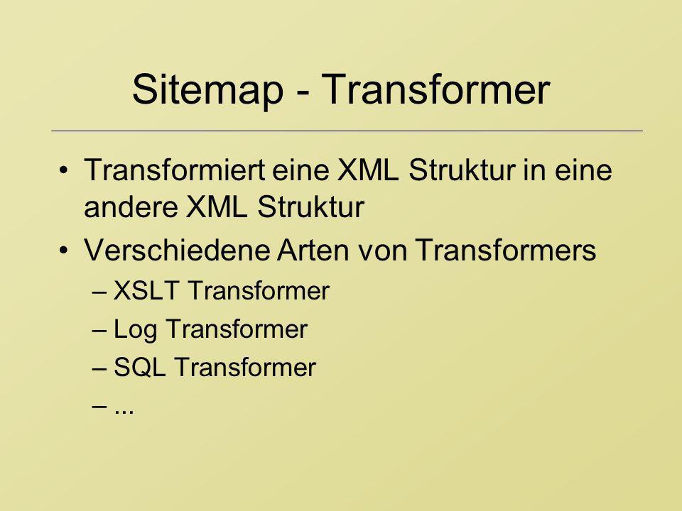 Sitemap - Transformer Transformiert eine XML Struktur in eine andere XML Struktur Verschiedene Arten von Transformers –XSLT Transformer –Log Transform