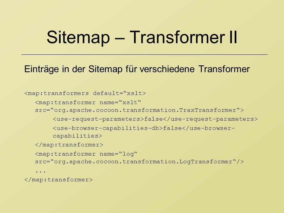 Sitemap – Transformer II Einträge in der Sitemap für verschiedene Transformer false...