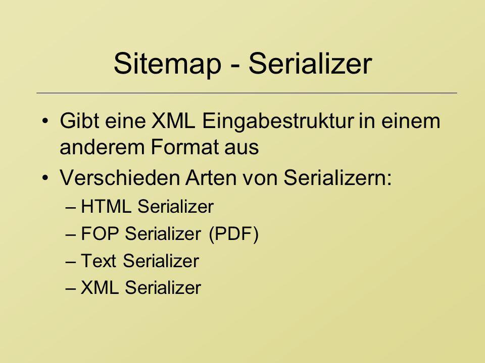 Sitemap - Serializer Gibt eine XML Eingabestruktur in einem anderem Format aus Verschieden Arten von Serializern: –HTML Serializer –FOP Serializer (PD