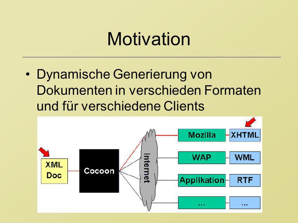 Motivation Dynamische Generierung von Dokumenten in verschieden Formaten und für verschiedene Clients