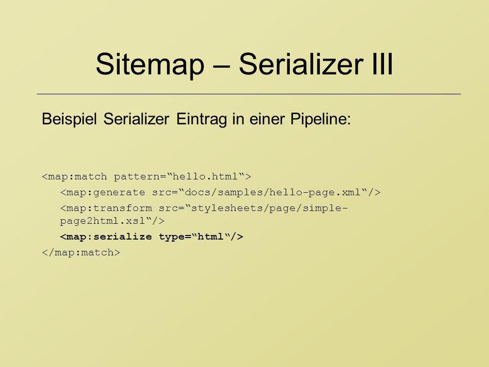 Sitemap – Serializer III Beispiel Serializer Eintrag in einer Pipeline: