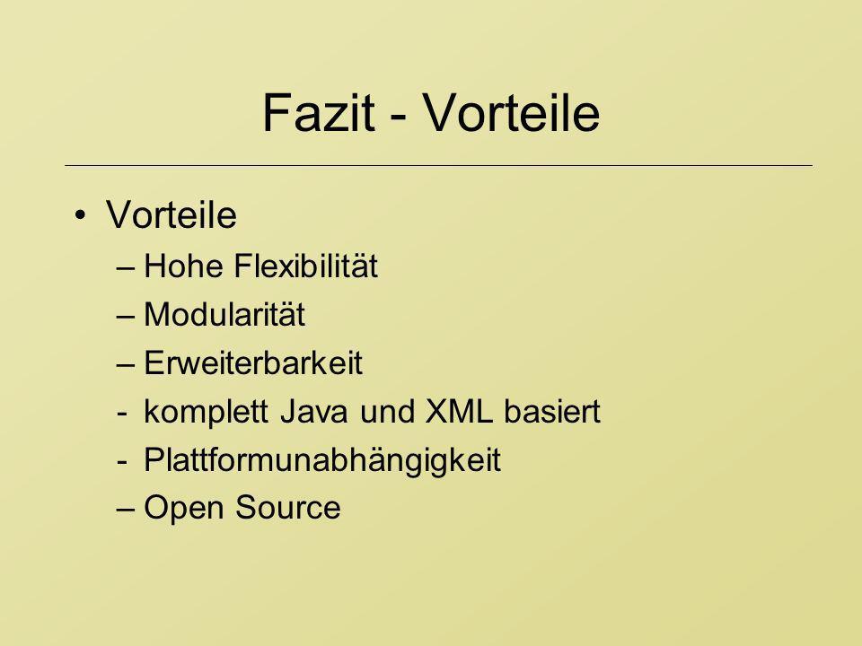 Fazit - Vorteile Vorteile –Hohe Flexibilität –Modularität –Erweiterbarkeit -komplett Java und XML basiert -Plattformunabhängigkeit –Open Source