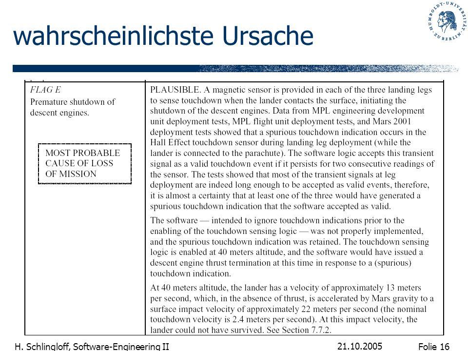 Folie 16 H. Schlingloff, Software-Engineering II 21.10.2005 wahrscheinlichste Ursache