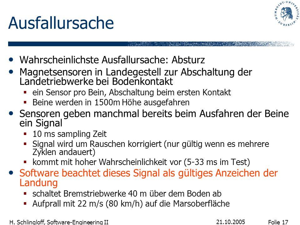 Folie 17 H. Schlingloff, Software-Engineering II 21.10.2005 Ausfallursache Wahrscheinlichste Ausfallursache: Absturz Magnetsensoren in Landegestell zu