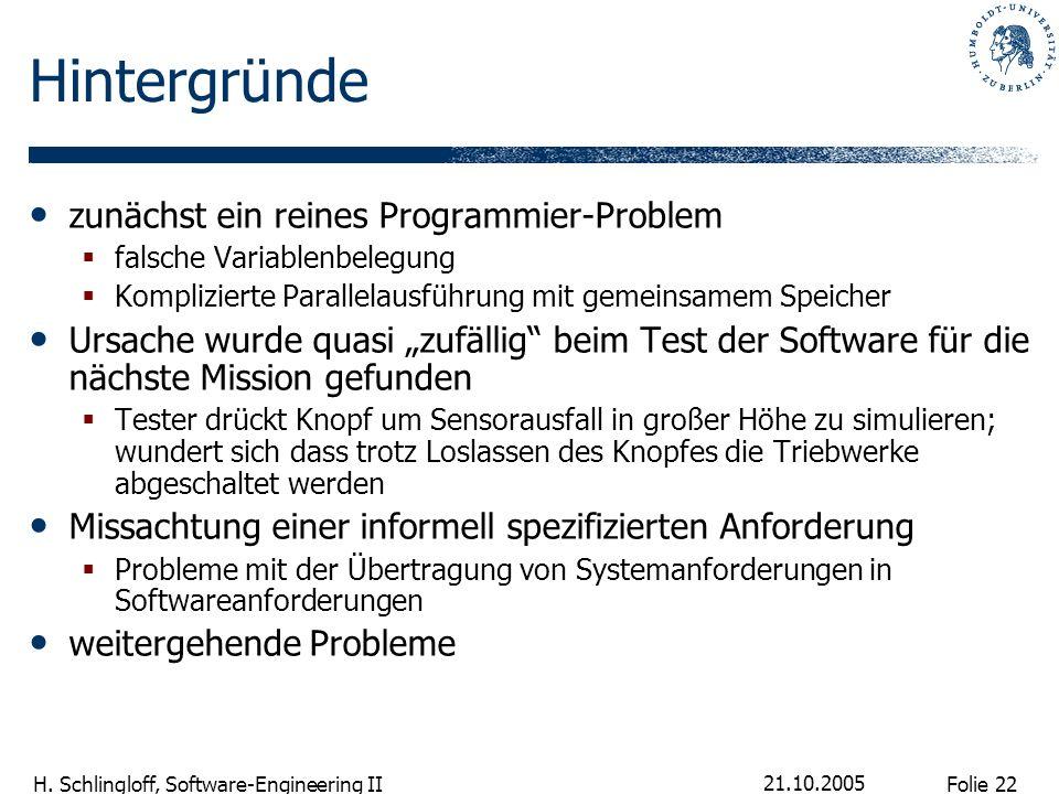 Folie 22 H. Schlingloff, Software-Engineering II 21.10.2005 Hintergründe zunächst ein reines Programmier-Problem falsche Variablenbelegung Kompliziert