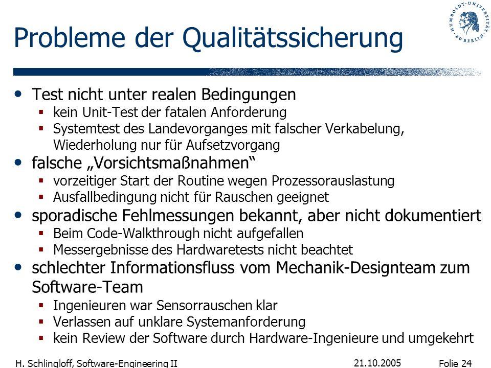 Folie 24 H. Schlingloff, Software-Engineering II 21.10.2005 Probleme der Qualitätssicherung Test nicht unter realen Bedingungen kein Unit-Test der fat