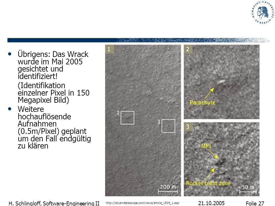Folie 27 H. Schlingloff, Software-Engineering II 21.10.2005 Übrigens: Das Wrack wurde im Mai 2005 gesichtet und identifiziert! (Identifikation einzeln