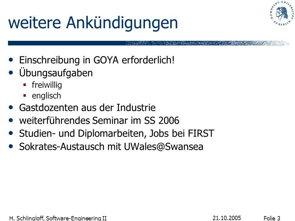 Folie 3 H. Schlingloff, Software-Engineering II 21.10.2005 weitere Ankündigungen Einschreibung in GOYA erforderlich! Übungsaufgaben freiwillig englisc