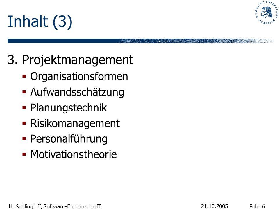 Folie 6 H. Schlingloff, Software-Engineering II 21.10.2005 Inhalt (3) 3. Projektmanagement Organisationsformen Aufwandsschätzung Planungstechnik Risik