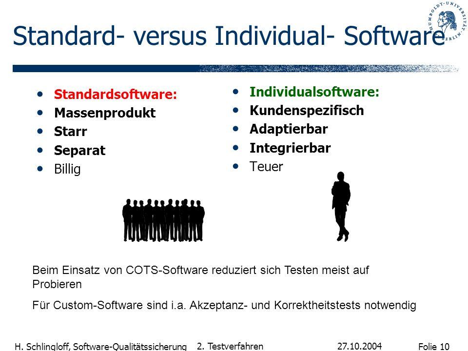 Folie 10 H. Schlingloff, Software-Qualitätssicherung 27.10.2004 2. Testverfahren Individualsoftware: Kundenspezifisch Adaptierbar Integrierbar Teuer S