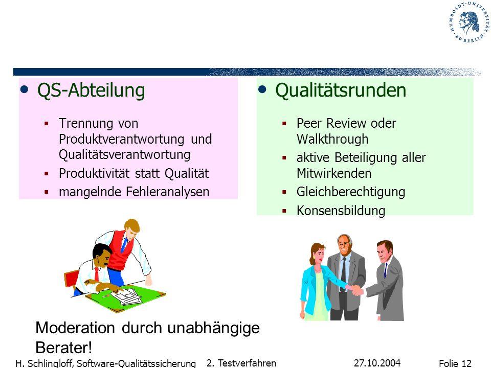 Folie 12 H. Schlingloff, Software-Qualitätssicherung 27.10.2004 2. Testverfahren QS-Abteilung Trennung von Produktverantwortung und Qualitätsverantwor