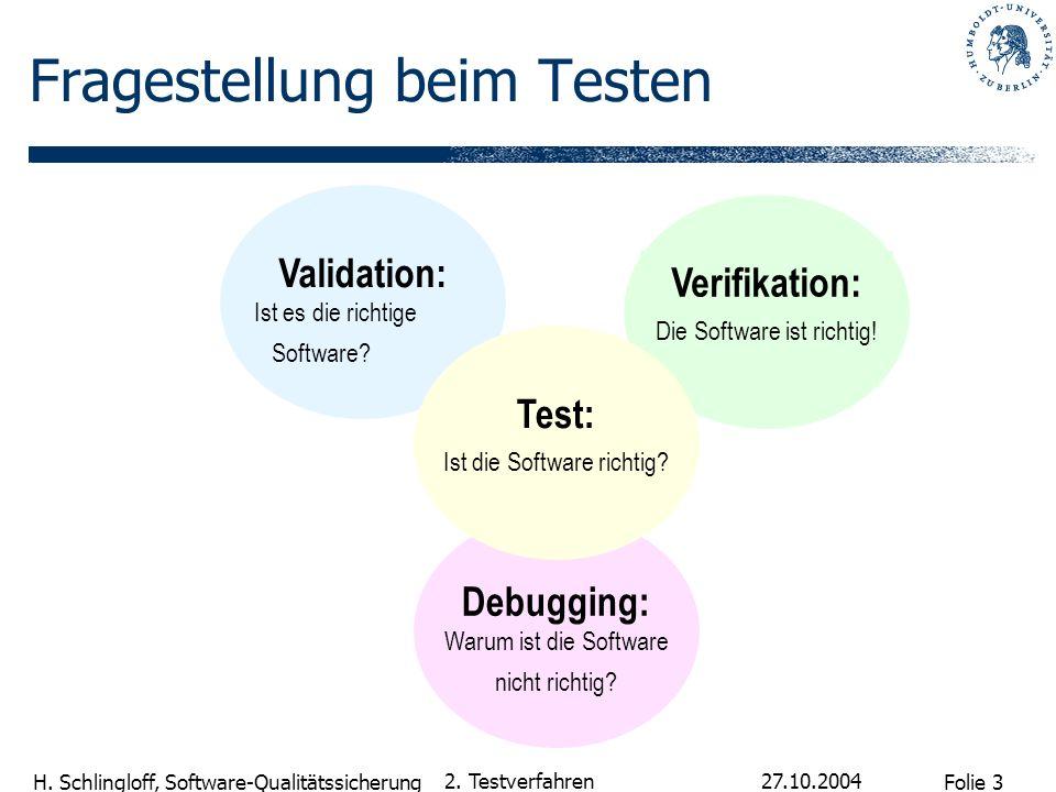 Folie 3 H. Schlingloff, Software-Qualitätssicherung 27.10.2004 2. Testverfahren Verifikation: Die Software ist richtig! Debugging: Warum ist die Softw