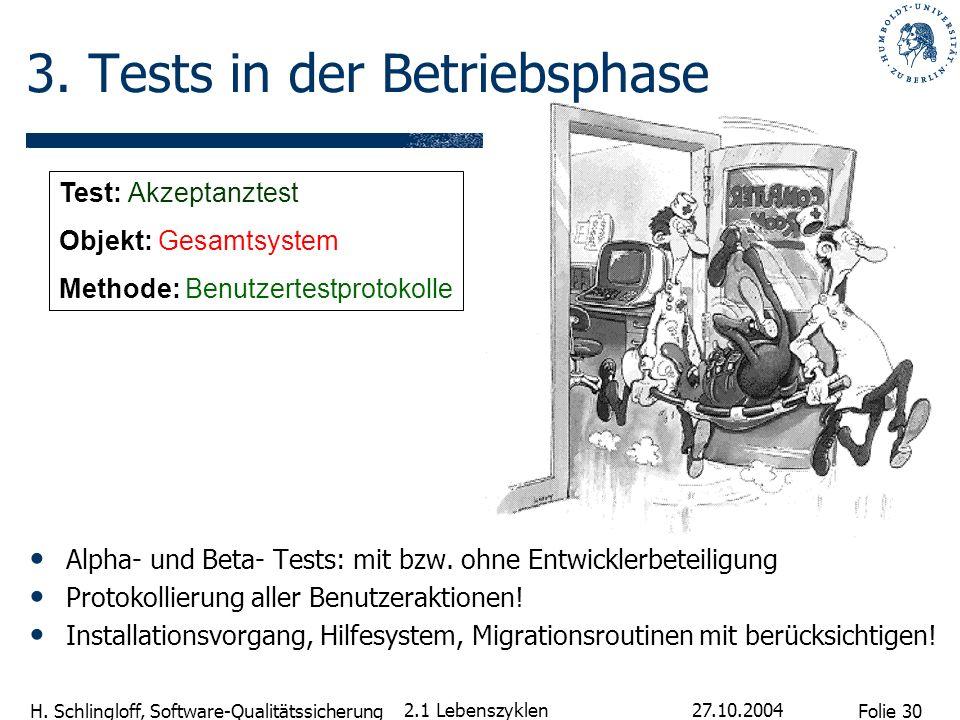 Folie 30 H. Schlingloff, Software-Qualitätssicherung 27.10.2004 2.1 Lebenszyklen Alpha- und Beta- Tests: mit bzw. ohne Entwicklerbeteiligung Protokoll