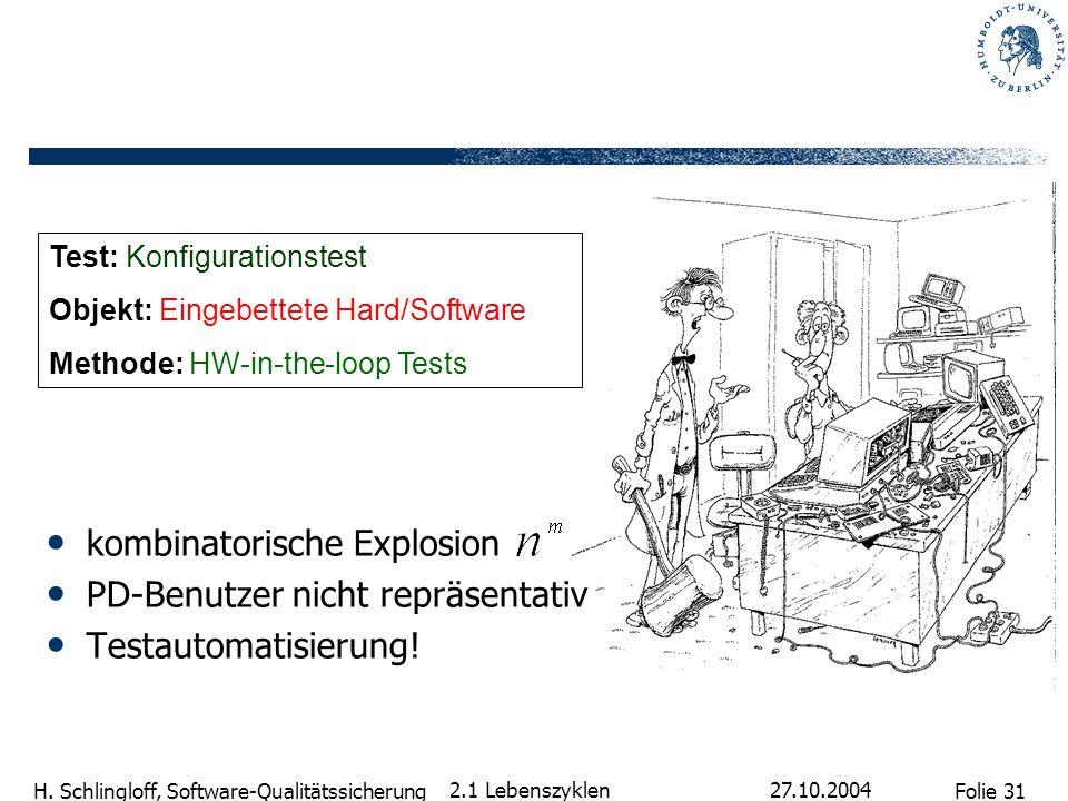 Folie 31 H. Schlingloff, Software-Qualitätssicherung 27.10.2004 2.1 Lebenszyklen kombinatorische Explosion PD-Benutzer nicht repräsentativ Testautomat