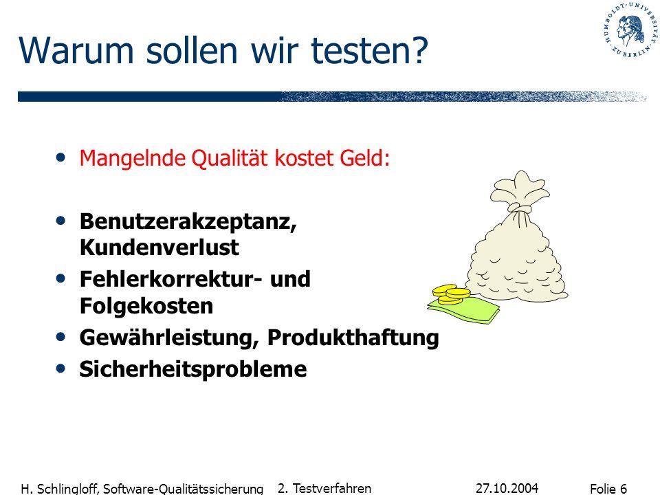Folie 6 H. Schlingloff, Software-Qualitätssicherung 27.10.2004 2. Testverfahren Mangelnde Qualität kostet Geld: Benutzerakzeptanz, Kundenverlust Fehle
