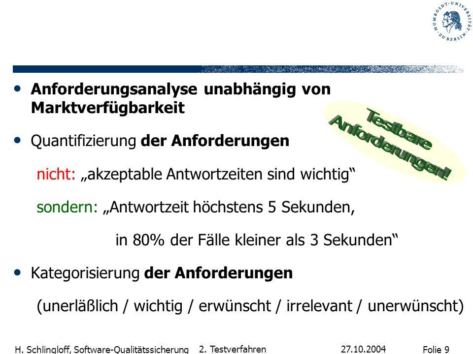 Folie 9 H. Schlingloff, Software-Qualitätssicherung 27.10.2004 2. Testverfahren Anforderungsanalyse unabhängig von Marktverfügbarkeit Quantifizierung