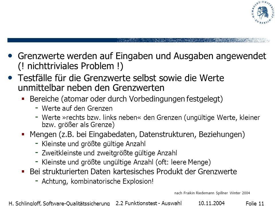 Folie 11 H. Schlingloff, Software-Qualitätssicherung 10.11.2004 2.2 Funktionstest - Auswahl Grenzwerte werden auf Eingaben und Ausgaben angewendet (!