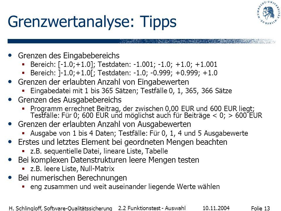 Folie 13 H. Schlingloff, Software-Qualitätssicherung 10.11.2004 2.2 Funktionstest - Auswahl Grenzwertanalyse: Tipps Grenzen des Eingabebereichs Bereic
