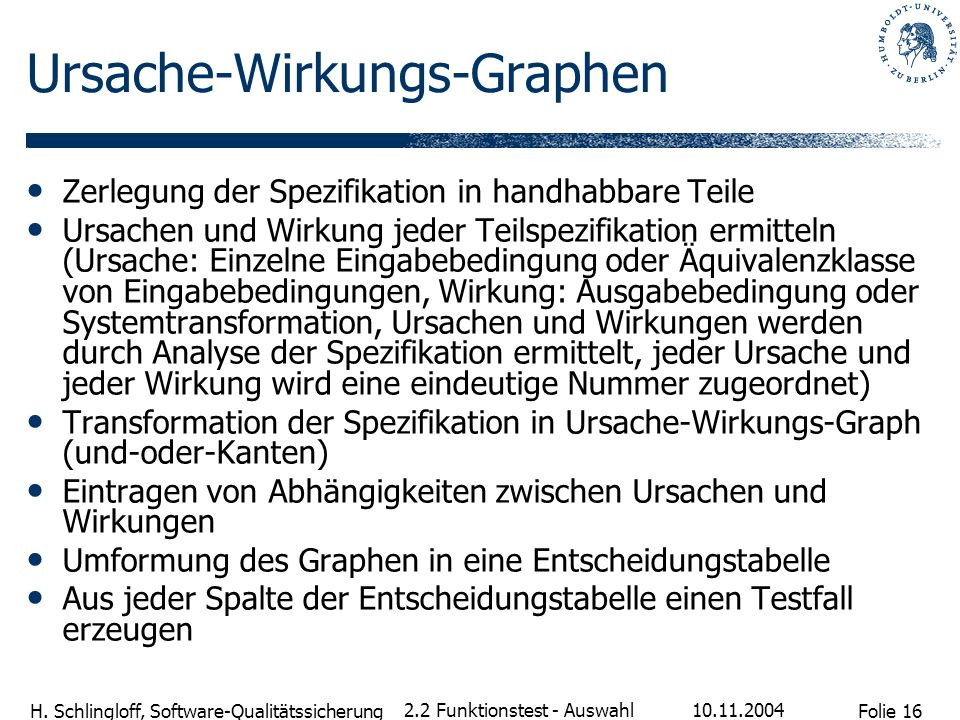 Folie 16 H. Schlingloff, Software-Qualitätssicherung 10.11.2004 2.2 Funktionstest - Auswahl Ursache-Wirkungs-Graphen Zerlegung der Spezifikation in ha
