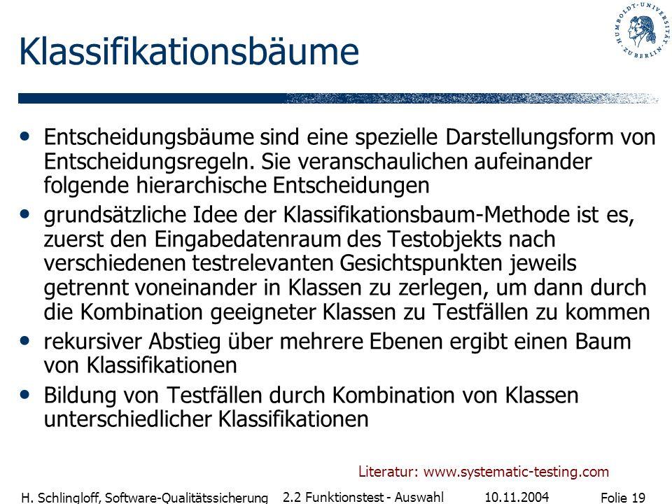 Folie 19 H. Schlingloff, Software-Qualitätssicherung 10.11.2004 2.2 Funktionstest - Auswahl Klassifikationsbäume Entscheidungsbäume sind eine speziell