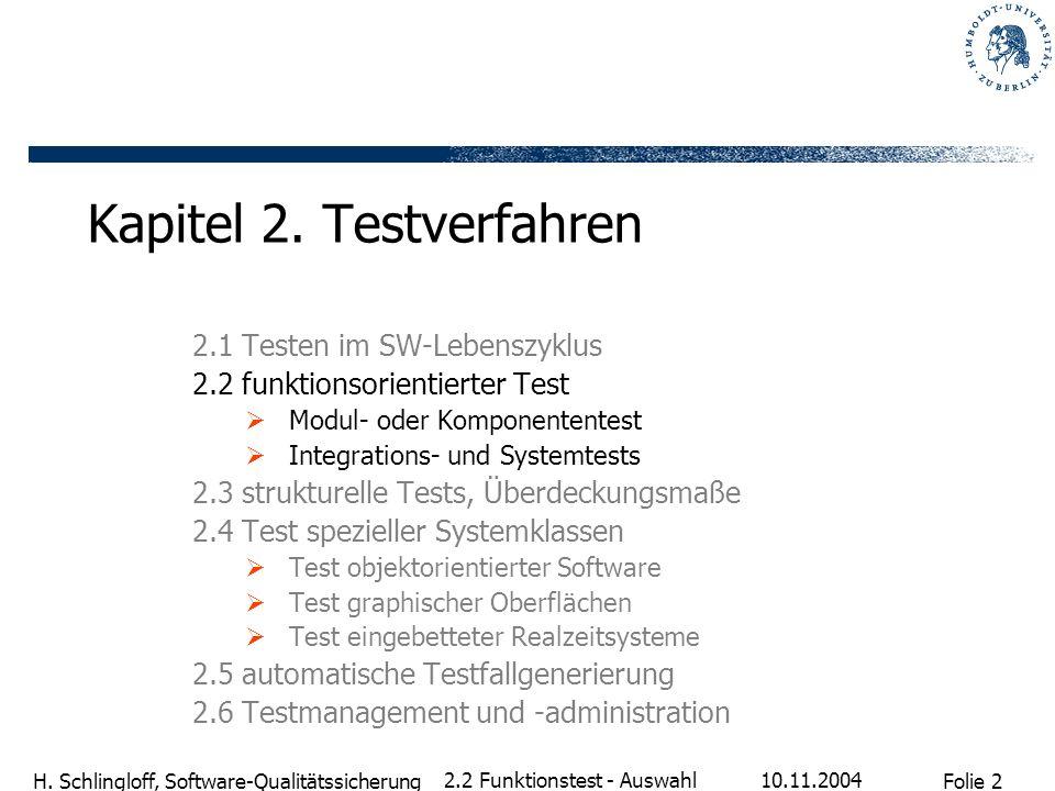 Folie 2 H. Schlingloff, Software-Qualitätssicherung 10.11.2004 2.2 Funktionstest - Auswahl Kapitel 2. Testverfahren 2.1 Testen im SW-Lebenszyklus 2.2