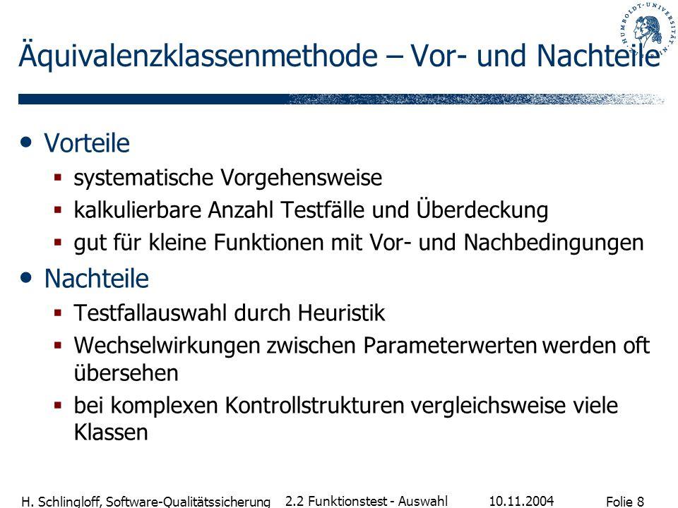 Folie 8 H. Schlingloff, Software-Qualitätssicherung 10.11.2004 2.2 Funktionstest - Auswahl Äquivalenzklassenmethode – Vor- und Nachteile Vorteile syst