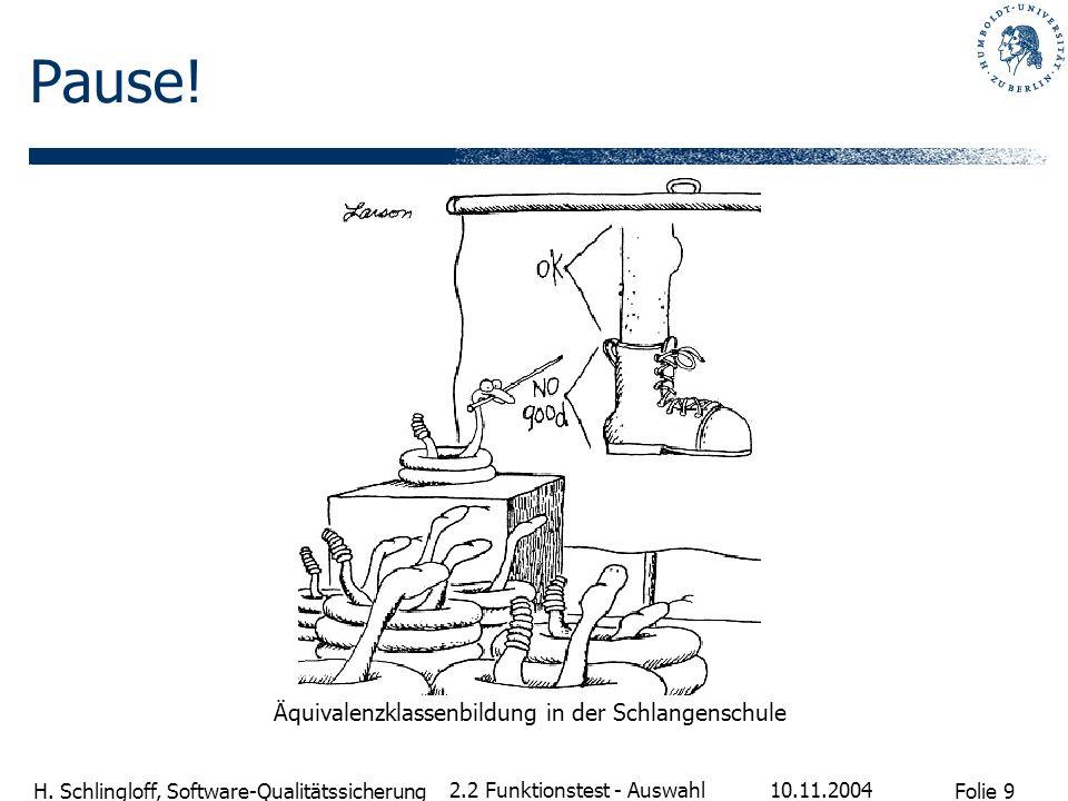 Folie 9 H. Schlingloff, Software-Qualitätssicherung 10.11.2004 2.2 Funktionstest - Auswahl Pause! Äquivalenzklassenbildung in der Schlangenschule