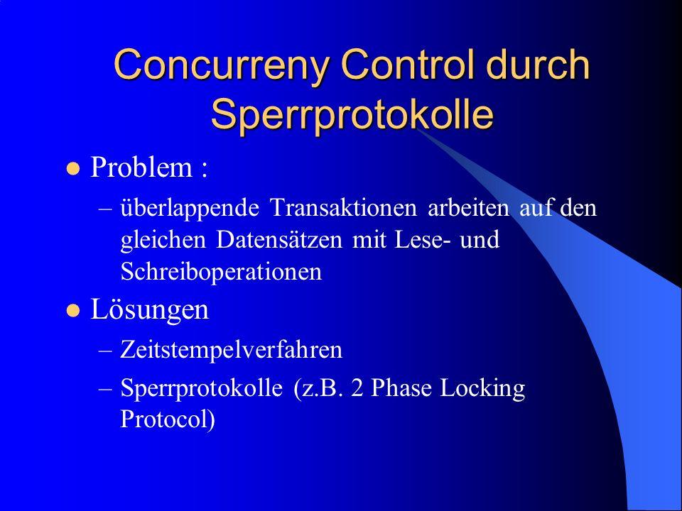 Concurreny Control durch Sperrprotokolle Problem : –überlappende Transaktionen arbeiten auf den gleichen Datensätzen mit Lese- und Schreiboperationen
