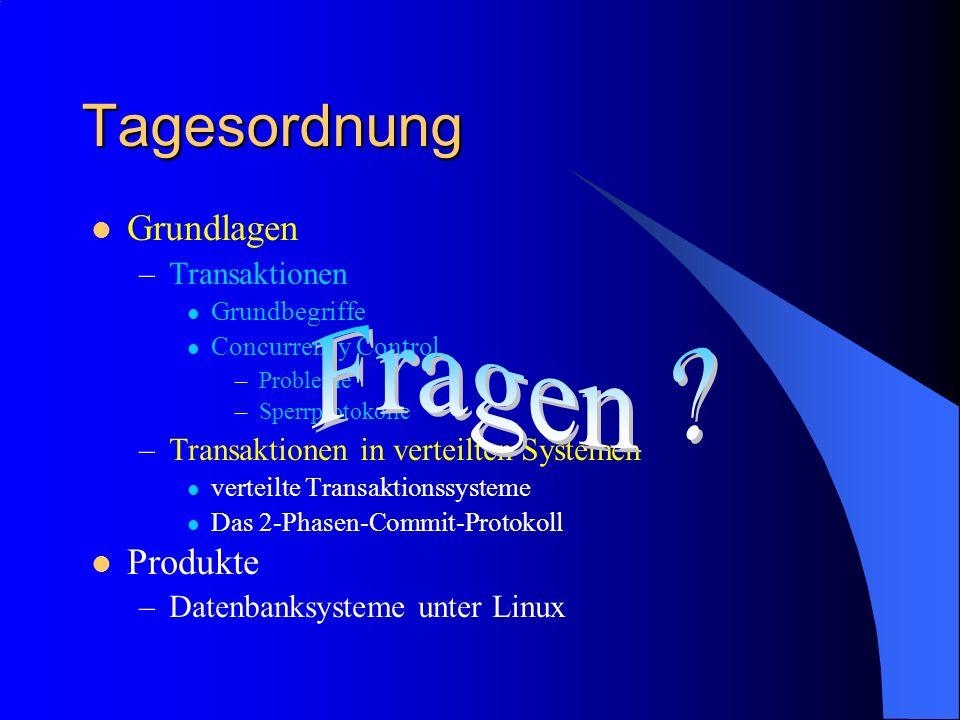 Grundlagen –Transaktionen Grundbegriffe Concurrency Control –Probleme –Sperrprotokolle –Transaktionen in verteilten Systemen verteilte Transaktionssys
