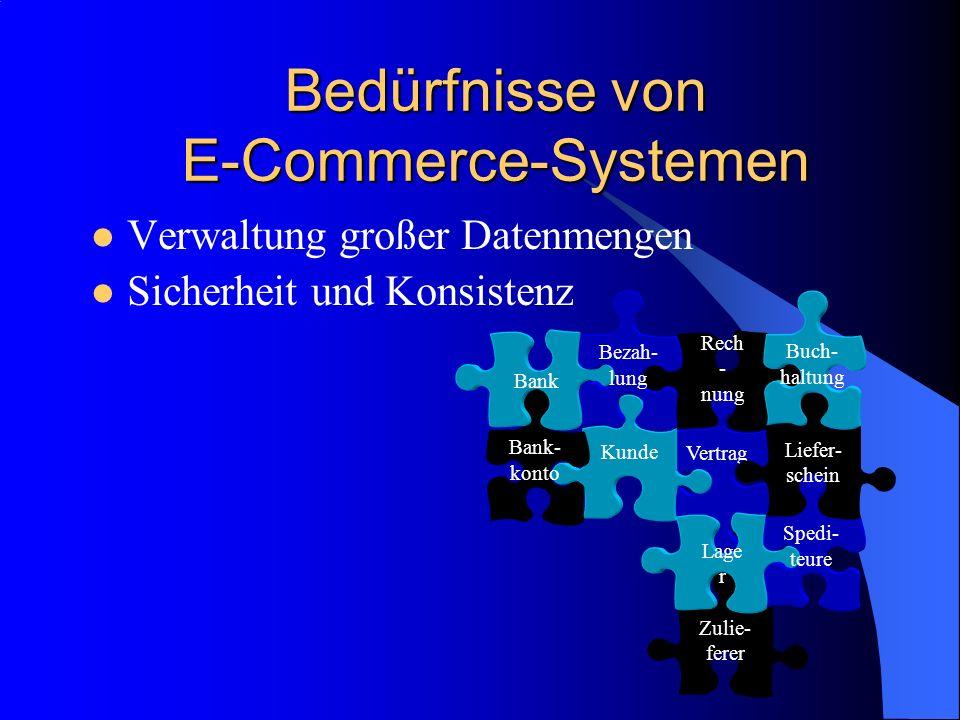 Zulie- ferer Bedürfnisse von E-Commerce-Systemen Verwaltung großer Datenmengen Sicherheit und Konsistenz Vertrag Kunde Rech - nung Buch- haltung Lage
