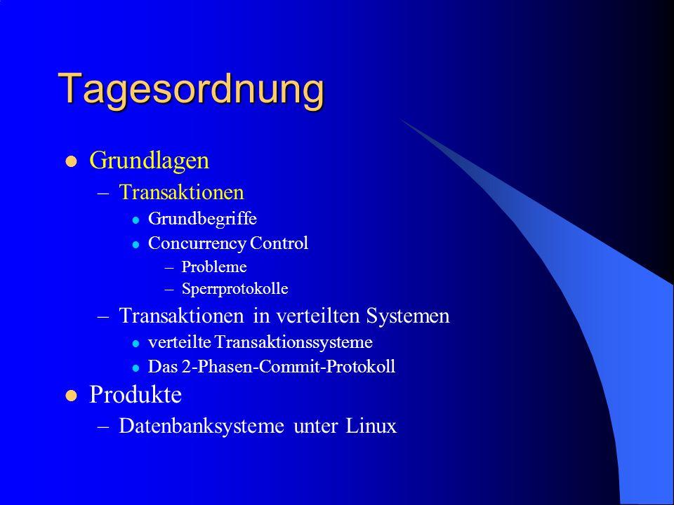 Tagesordnung Grundlagen –Transaktionen Grundbegriffe Concurrency Control –Probleme –Sperrprotokolle –Transaktionen in verteilten Systemen verteilte Tr