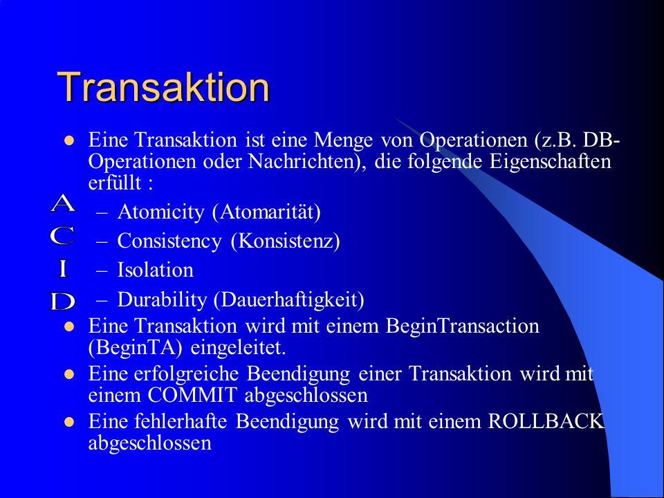 Transaktion Eine Transaktion ist eine Menge von Operationen (z.B. DB- Operationen oder Nachrichten), die folgende Eigenschaften erfüllt : –Atomicity (